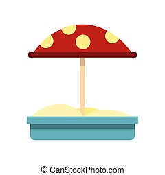 Sandbox with red dotted umbrella icon, flat style - Sandbox...