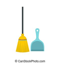 Broom and dustpan icon, flat style - Broom and dustpan icon...