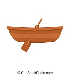 Wooden boat icon, flat style - Wooden boat icon in flat...