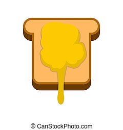 Toast with honey icon, flat style - Toast with honey icon in...