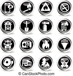 fire brigade icon set - fire brigade icons on stylish round...