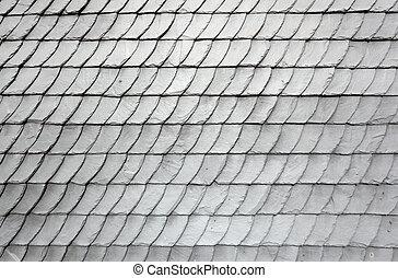 szary, dachówki, stary, dom, dach, łupek