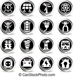 electricity icon set - electricity icons on stylish round...