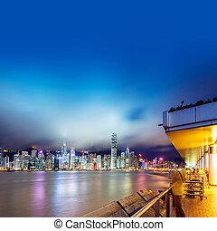 Hong Kong night - Hong Kong, China Victoria Harbor Night,...