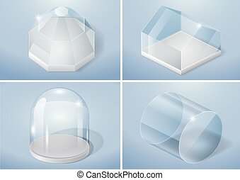 Set of glass shapes - Set of glass forms of sphere, flask,...