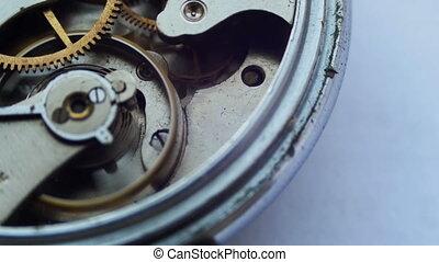 Close up of a internal clock mechanism - Old vintage clock...