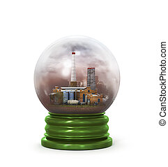 concept of environmental protection plant in glass sphere