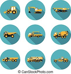set of flat icons for construction equipment in vector...