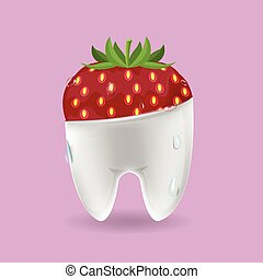 Strawberry Tooth Mixed Dental Symbol Vector