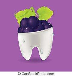 Grape Tooth Mixed Dental Symbol Vector