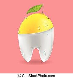 Lemon Tooth Mixed Dental Symbol Vector
