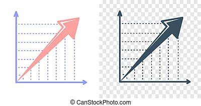 Vector growing graph icon - Concept of progress, rapid...