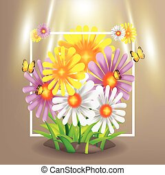 Spring Flowers Garden Nature Group Vector