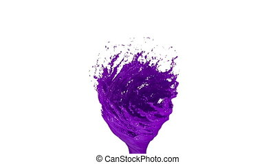 Violet Liquid tornado on white background. Beautiful colored...