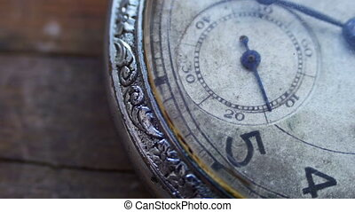 Closeup of vintage pocket clock time going fast - Antique...