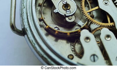 Old vintage clock mechanism working, closeup shot with soft...