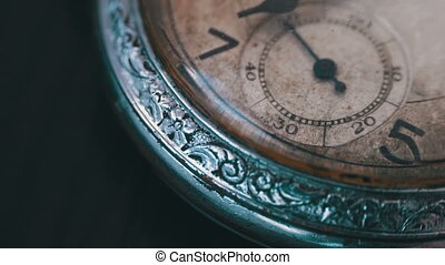 Macro vintage pocket watch time going fast - A macro closeup...