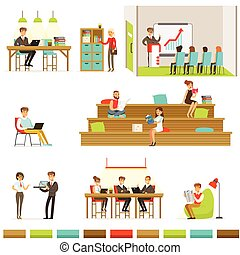 Coworking Workplace, Freelancers Sharing Space And Ideas In...