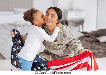 Patriotic young lady happy being home