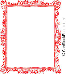 Antique red floral border pattern isolated on white...
