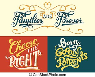 Family quotes set hand-lettering - Families are forever,...