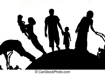 Happy family. Father, mother, son and daughter together. -...