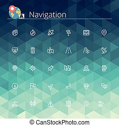 Navigation Line Icons - Navigation and location line icons...