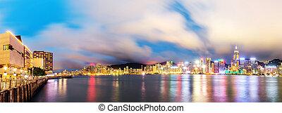 Hong Kong night - Victoria Harbor beautiful night view, Hong...
