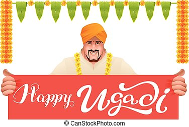 Hindu man holds banner happy ugadi. Isolated on white vector...