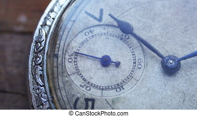 Closeup of vintage pocket clock time going fast