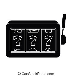 A slot machine in a casino. An automatic with a lever and a dial.Kasino single icon in black style vector symbol stock illustration.