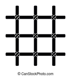 Lattice in the cell of the prisoner. A metal door to hold criminals.Prison single icon in black style vector symbol stock illustration.