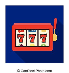 A slot machine in a casino. An automatic with a lever and a dial.Kasino single icon in flat style vector symbol stock illustration.