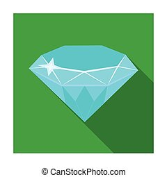 Gem diamond. A valuable prize in the casino.Kasino single icon in flat style vector symbol stock illustration.