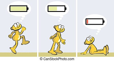 Ebullient or tired. Charged or discharged batterie - Active...
