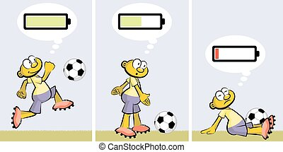 Soccer player ebullient and tired. Charged or discharged batterie