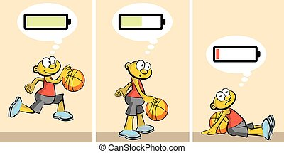 Basketball Player ebullient and tired. Charged or discharged batterie