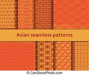Traditional Asian seamless patterns set. Detailed decorative motifs. Red and orange colors. Vector illustration.