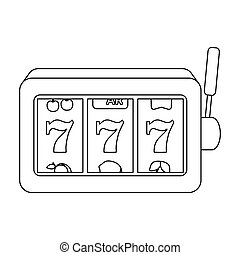 A slot machine in a casino. An automatic with a lever and a dial.Kasino single icon in outline style vector symbol stock illustration.