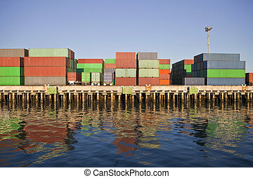 Waterfront Containers in Warm Afternoon Light.
