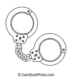 Metal handcuffs for detaining criminals. Outfit of a policeman.Prison single icon in outline style vector symbol stock illustration.