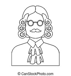 A judge in a wig and glasses. A person who makes a verdict to a criminal.Prison single icon in outline style vector symbol stock illustration.