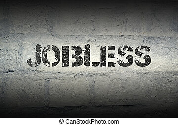jobless WORD GR - jobless stencil print on the grunge white...