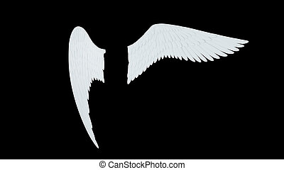 Angel white wings isolated on a black background 3D render -...