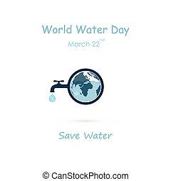 Water drop and water tap icon with Globe icon vector logo...