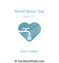 Water drop and water tap icon with heart shape vector logo...