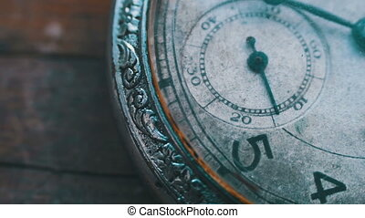 clock mechanism working, closeup shot with soft focus - Old...