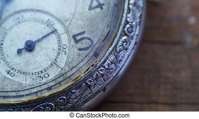 Closeup of vintage pocket clock - Antique clock dial...