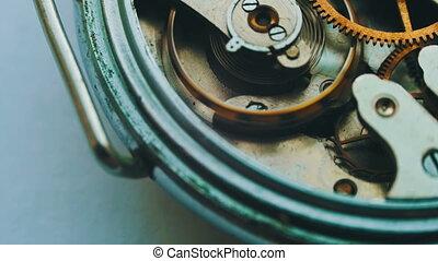 Watch mechanism macro loop.Old vintage clock mechanism...