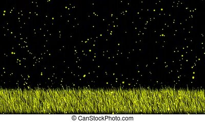 swing grass and falling snowflake,wrapped in a yellow light